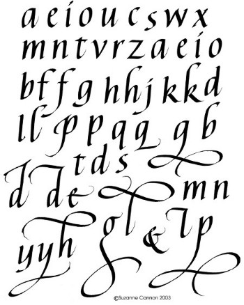 Tatto Fonts on Fancy Printable Calligraphy Alphabet Study Buddy Group